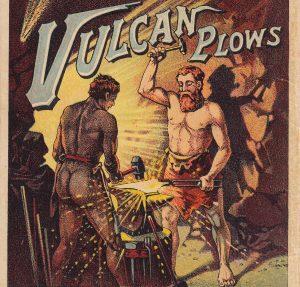 Vulcan Chilled Plow 1898 RARE Heilman Evansville IN Advertising Fold Trade Card