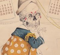 Creepy Skelton Clown Patent Medicine 1900 Calendar Card from Pawn Stars History Channel