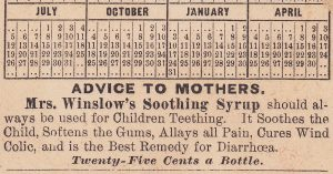 Reverse side of a Mrs Winslow Teething Baby Tooth Cure bottle 1885 Calendar Advertising Trade Card