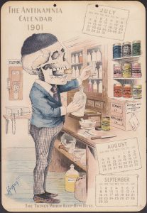 Classic Antikamnia Skeleton Calendar Card, 1901 Drugstore Scene, apothecary jars, medicine tins, cure bottles and jars, etc.
