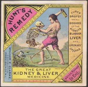 A Hunt's Remedy Trade Card showing the Grim Reaper and Death Skeleton beaten back by a man swinging a cure bottle.