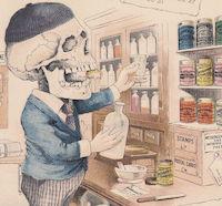 Drugstore Pharmacist Antikamnia Skeleton Sketches Calendar Card from Pawn Stars