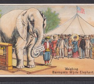 Barnum White Elephant 1800's Circus Tent Fairbanks Scale Advertising Trade Card