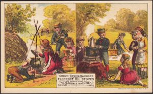 With and Without card showing young people on a picnic cooking outdoors.