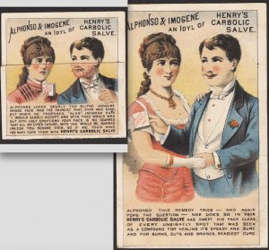 Henrys Carbolic Salve 1880's Pimple Cure Folding Metamorphic Novelty Victorian Trade Card