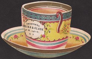Novelty die-cut card in the shape of a tea cup and saucer.