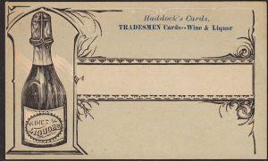 "Haddock company of Philadelphia: Wine & Liquor ""Tradesmen Card."""