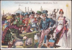 Uncle Sam and Miss Columbian at the Chicago Worlds Fair.