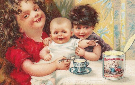 Baby Milk 1800's Highland Brand Condensed Cream Tin Can Advertising Trade Card Teacup