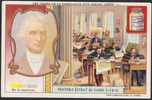 Chromolithography illustrated by a Liebig advertising trade card.