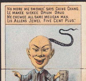 """Ethnic bigotry towards Chinese man as an Opium Drug user from China who speaks with a """"comical"""" accent."""