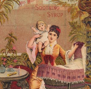 Lovely Victorian Mother and Child among parlor ferns.