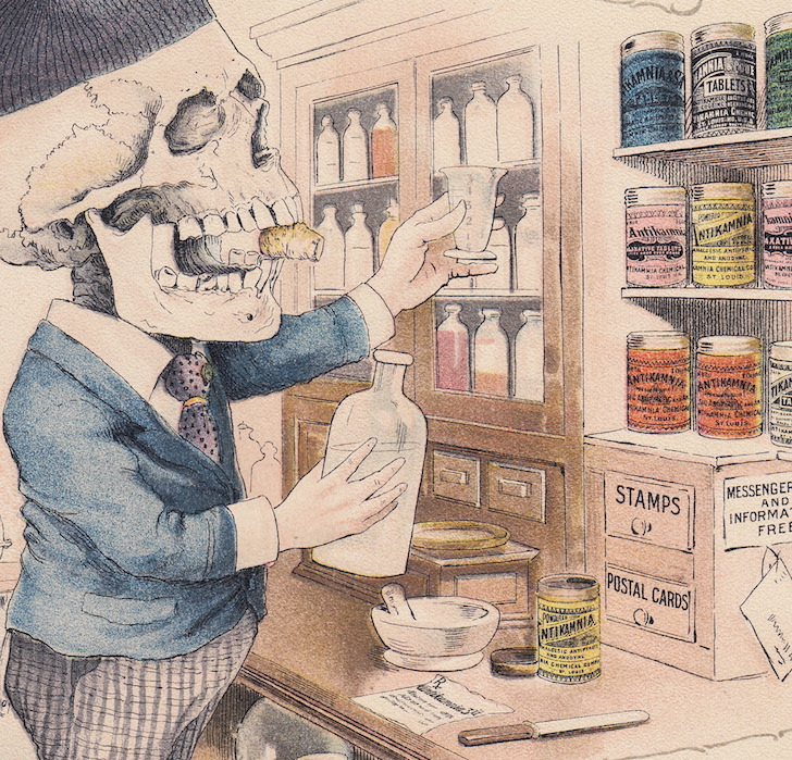 Pharmacist Skeleton Drug Store