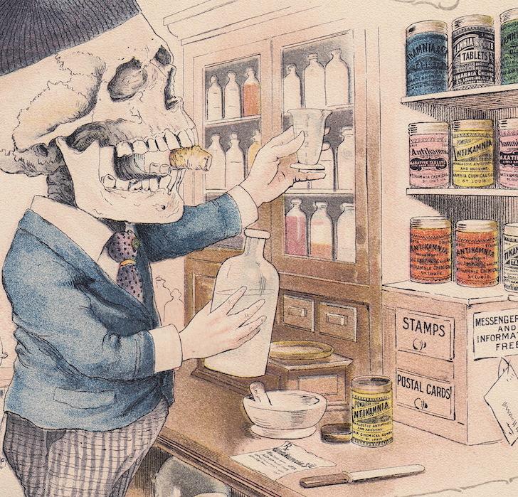 Pharmacist Skeleton Drug Store