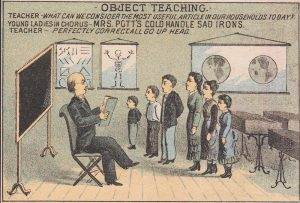 Mrs Potts Sad Iron Enterprise School Teacher Skeleton old Advertising Trade Card