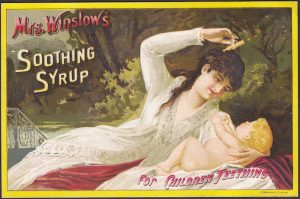 Mrs Winslow Teething Baby Tooth bottle old 1887 Calendar Advertising Trade Card