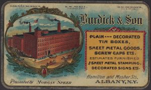 Burdick & Son Lithographers Metal Advertising Cards 2x Factory View Tin Printers
