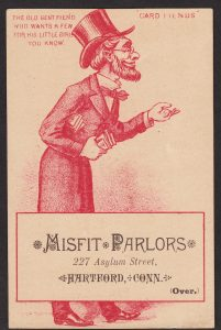 Old Gentleman card fiend with a hand out to collect Victorian advertising trade cards.
