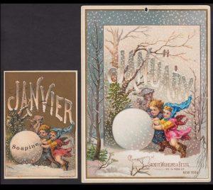 Artistic Printer Sackett Wilhelms & Betzig Lith New York 1884 January Soapine Soap Calendar Card