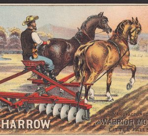 Randall Harrow Farm Draft Horse Nice 1800's Warrior Mower Advertising Trade Card
