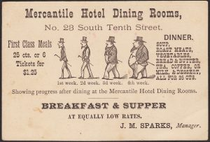 Mercantile Hotel Dining Rooms, Breakfast & Supper, 23 South Tenth St., Philadelphia