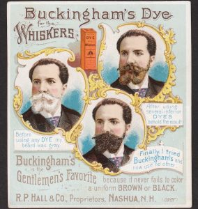 BEFORE, DURING, and AFTER trade card images on a beard color trade card.