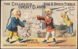 Old Style vs. New Style, Before and After card for Celluloid Corsets with Chinese Laundry