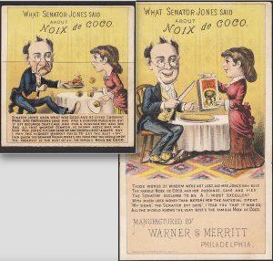 Coconut folding metamorphic Victorian Advertising Trade Card.