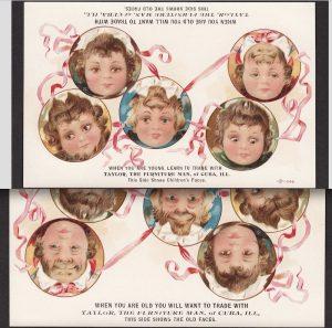 Upside Down Ambigram Card of Kids vs Old Men with Beards.