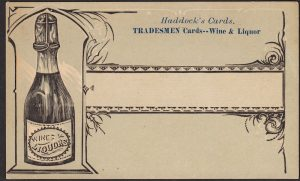 "Haddock company of Philadelphia: Wine & Liquor ""Tradesmen Card."""