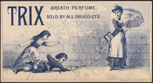 "Sales representative for TRIX ""Breath Perfume"" passing out free cards to kids."